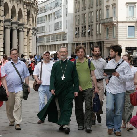 Священник Георгий Кочетков в паломнической поездке с братьями и сестрами.