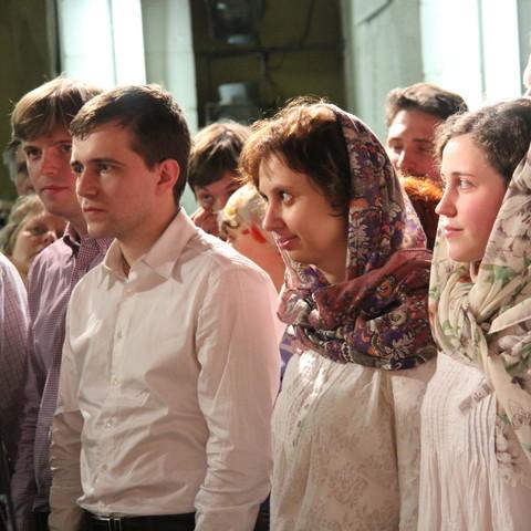 Вечерняя молитва на соборе Преображенского братства в праздник Сретения Господня.