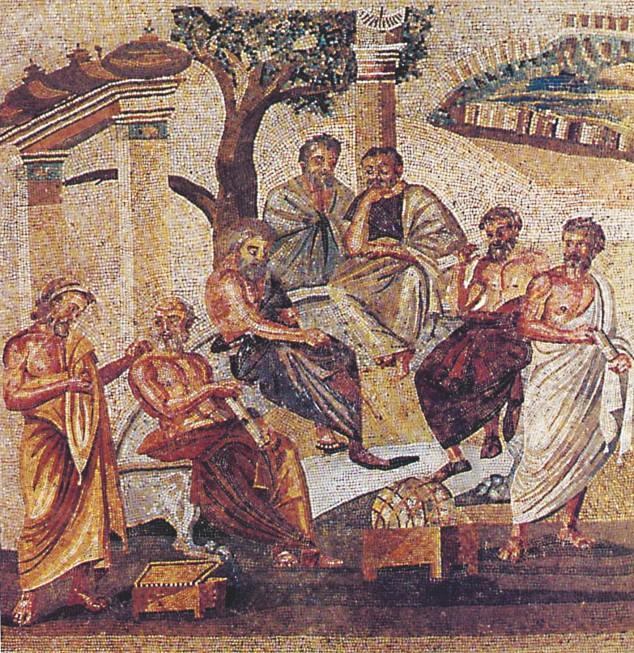 Цветн. илл. IX. Занятие в философской школе