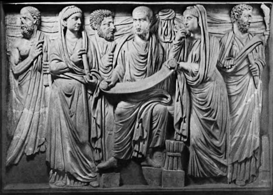 Рис. 15. Философ Плотин (?), окруженный учениками и ученицами