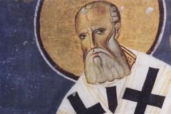 Свт. Григорий Богослов. Фреска, 1209 год. Cербия (Студеница), фрагмент.