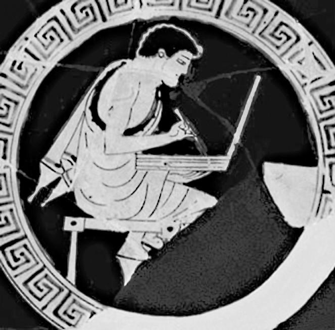 Рис. 17. Школьник, пишущий стилем на складной восковой дощечке