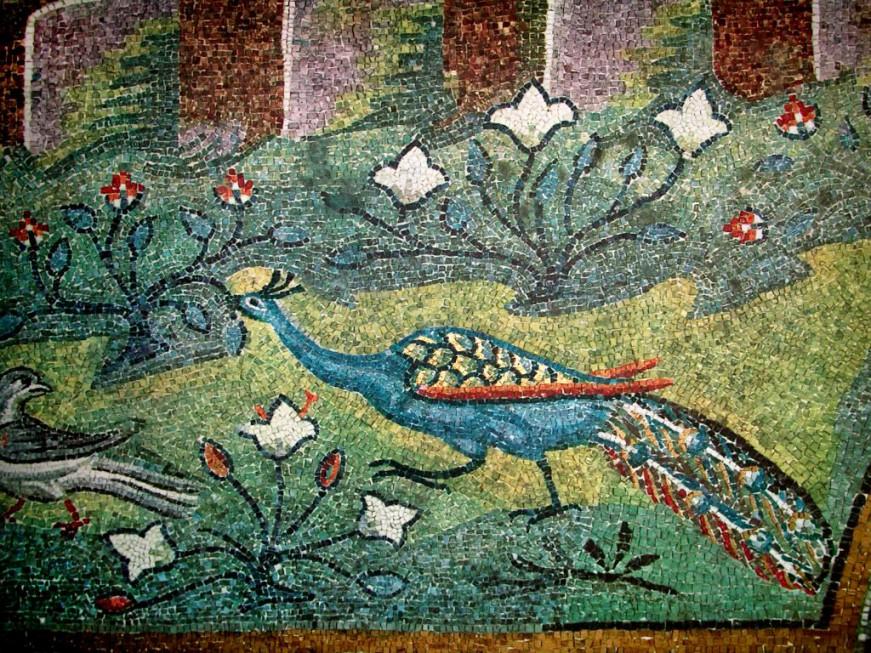 Райский сад (фрагмент  Италия. Равенна; VI в.; Базилика Сант-Аполлинаре ин Классе