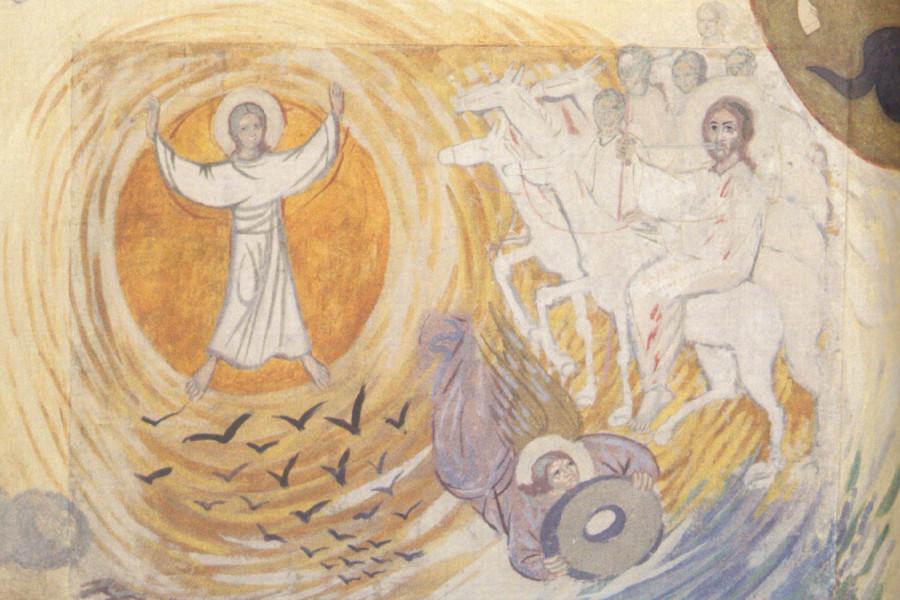 Апокалипсис. Деталь. Ангел,  стоящий на солнце; Ангел с камнем. 1945-1947 гг.