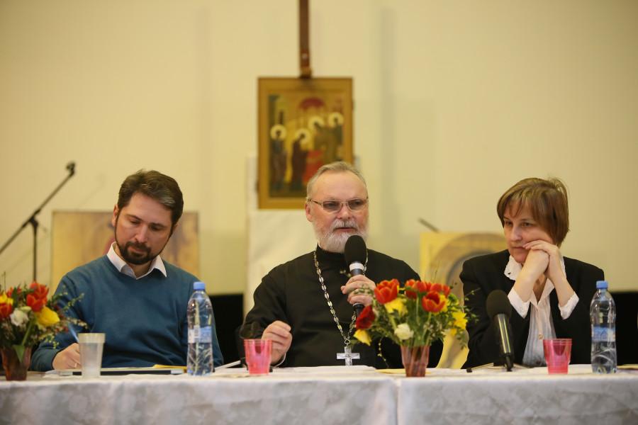 Aleksey Naumov, Chairman of the Vvedenskoye Brotherhood, Georgy Kochetkov, founder and spiritual father of the Transfiguration Brotherhood, Yulia Balakshina, Chairperson of St. Peter's Brotherhood.