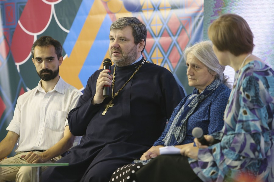 Gleb Zapalsky, Deputy Director of the Church History Department at MGU (Moscow State University; Fr Ilya Soloviev, Historian; Elena Belyakova, Researcher at the Russian Academy of Science's Center for the Study of Church and Religion at its Institute for Russian History