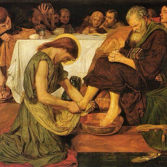 Форд Мэдокс Браун. Христос омывает ноги апостолу Петру (1852)
