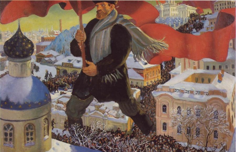 Большевик. Б. Кустодиев. 1919-1920 гг.