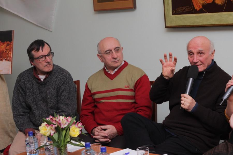 Представители АКЛИ, слева направо - Энрико Леони, Пьеранжело Торричелли, Джованни Бьянки