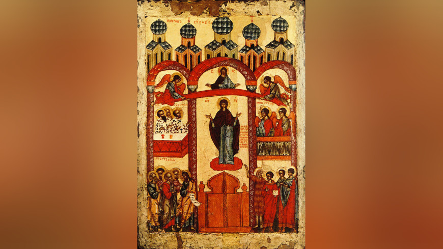 ФОТО : Икона «Покров Пресвятой Богородицы» (Новгород, 1401—1425 годы.
