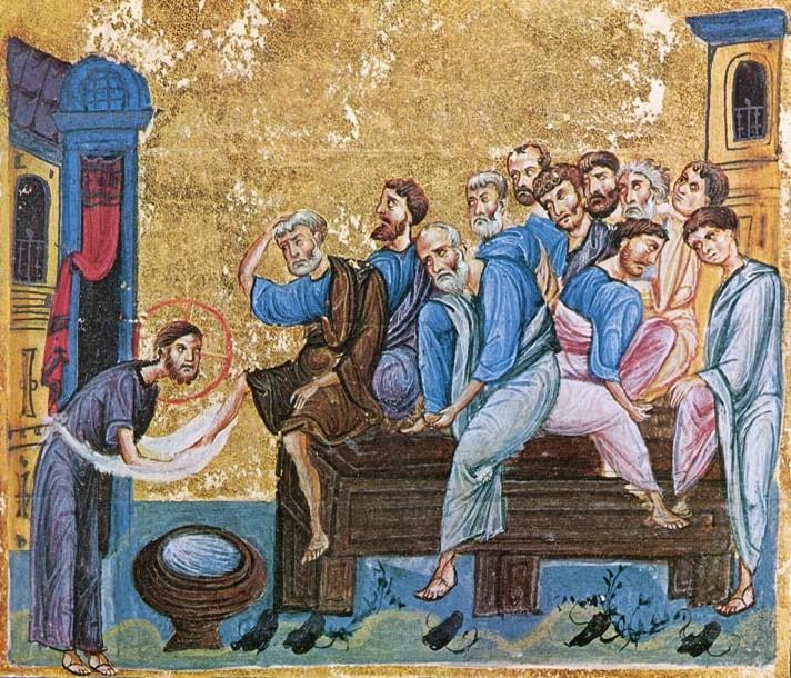 Омовение ног; Византия; XI в.; памятник: Евангелиарий (Athos, Dionisiou 587); местонахождение: Греция. Афон, монастырь Дионисиат