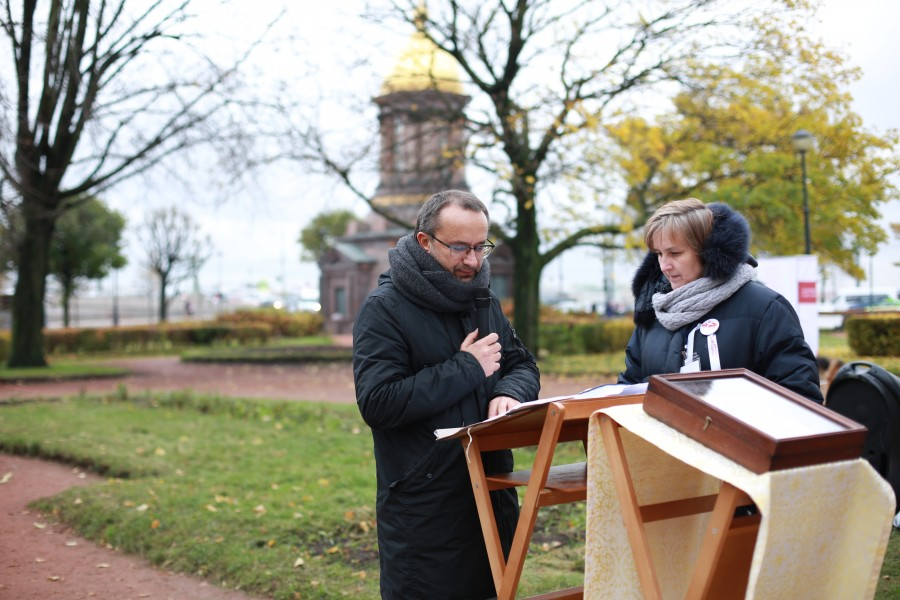 In St. Petersburg: Film Director Andrey Zvyagintsev and one of the forces behind the Prayers of Remembrance Initiative, Yulia Balakshina, Chairman of the Minor Orthodox Brotherhood of St. Peter