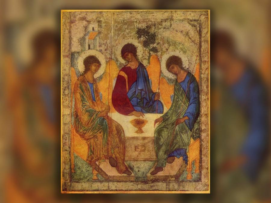 Троица (икона Андрея Рублёва, ~1422—1427, Москва, Третьяковская галерея)