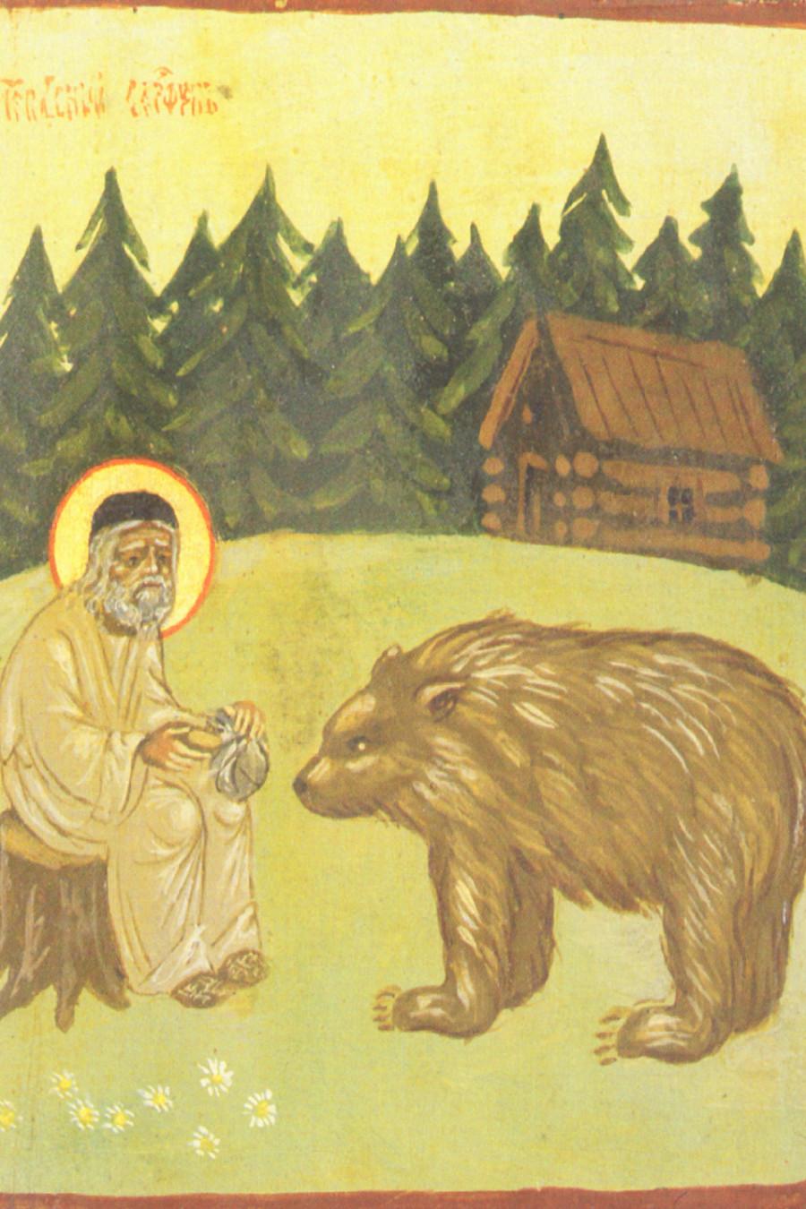 Преподобный Серафим Саровский с медведем. Середина 1970-х