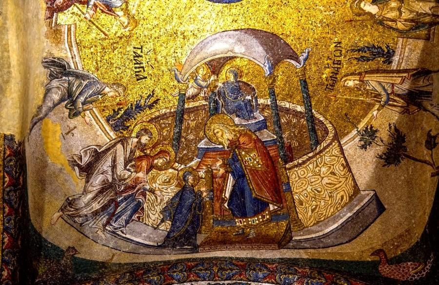 Введение во храм Пресвятой Богородицы. Мозаика монастыря Хора в Константинополе. XIV век