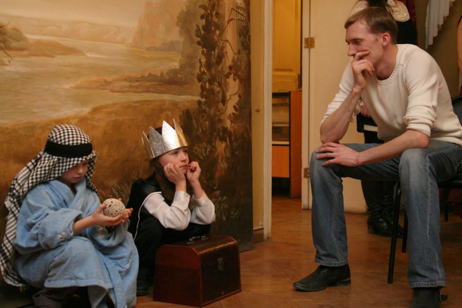 Актерами в рождественском спектакле стали дети из Свято-Екатерининского братства.