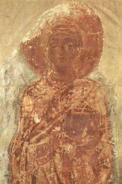 Святая Фёкла. Фреска. Спасо-Преображенский собор, Чернигов. XI век