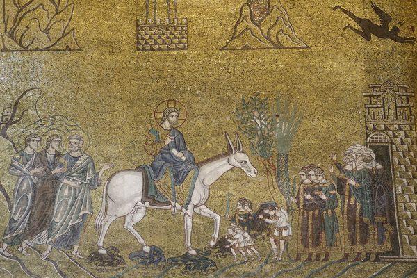 Вход Господень в Иерусалим. Мозаика собора Сан-Марко (Венеция), 2-я пол. XII в.