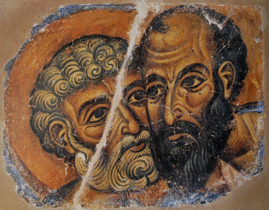 Петр и Павел. Сохранившийся фрагмент фрески монастыря Ватопед. Конец XII в. Афон, Греция