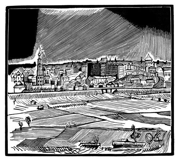 Вид на Москву с Воробьёвых гор. 1918. Ксилография