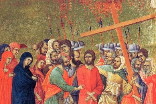 «Несение креста», 1308 - 1311 гг. Дуччо ди Буонинсенья. Маэста. Фрагмент.
