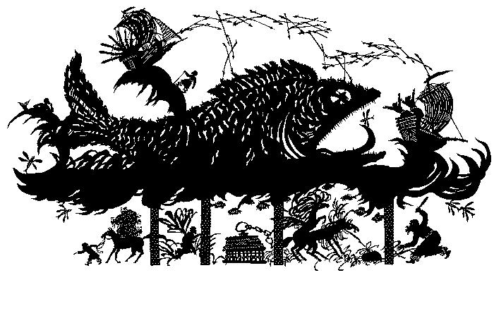 М. Патрушева. Книга тысяча и одной ночи. Избранные сказки. Сказка о Синдбаде-мореходе.  Силуэт, 800х540 мм. М., «Аст-Пресс», 2000/2001