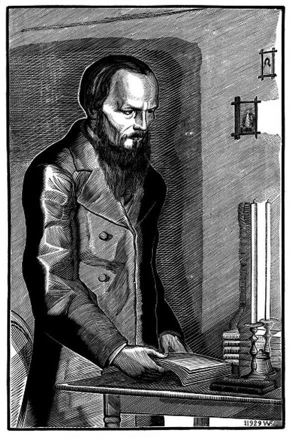 Ф. М. Достоевский. 1929. Ксилография