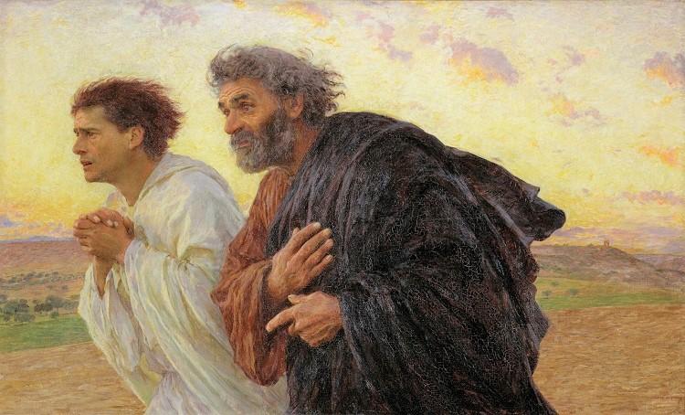 Эжен Бюрнан. Апостолы Пётр и Иоанн, спешащие ко гробу после Воскресения. 1898