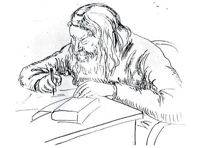Сестра Иоанна Рейтлингер. Отец Сергий Булгаков за письменным столом. Париж, 1930-е гг.