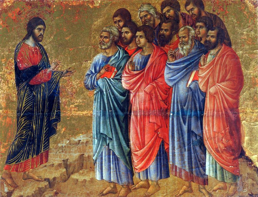 Дуччо ди Буонинсенья. Маэста. Явление апостолам. 1308-1311 гг.