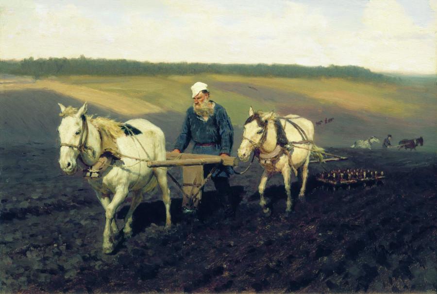 Пахарь Л.Н. Толстой на пашне. И. Репин. 1877 г.