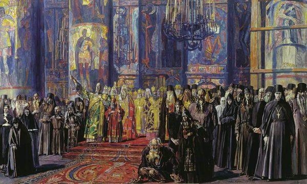 Павел Корин. Русь уходящая (Эскиз). Бумага, гуашь. 1935-1959
