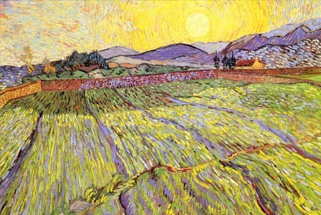 Винсент Ван Гог. Пшеничное поле с восходом солнца. 1889