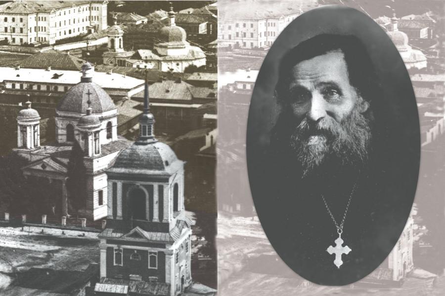 Справа: протоиерей Александр Глаголев, слева: храм Николы Доброго на Подоле, разрушен в 1935 г.