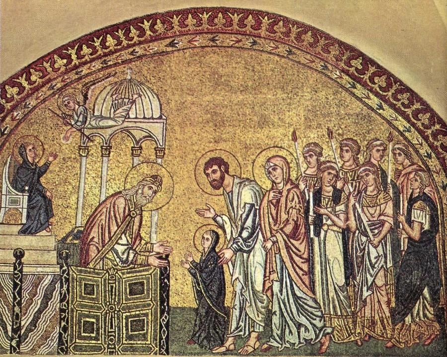 Введение во храм Всесвятой Богородицы. Мозаика монастыря Дафни, Греция. Конец XI века.