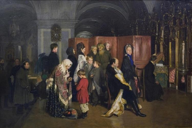 Алексей Корзухин. Перед исповедью. 1877 г. Государственная Третьяковская галерея