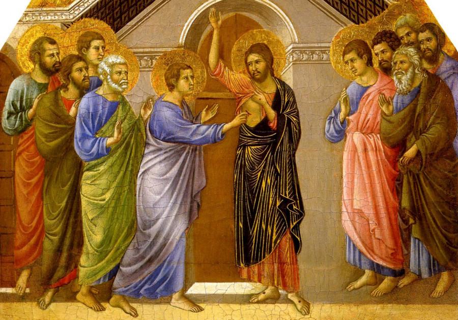 Христос и Фома неверующий. Дуччо ди Буонинсенья, 1308-1311.