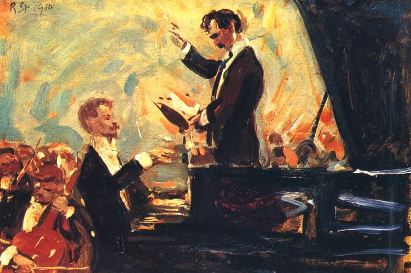 Robert Shterlj. Piano Concerto (1910). In the picture: Sergei Kusevitskij (conductor) and Alexander Skryabin.