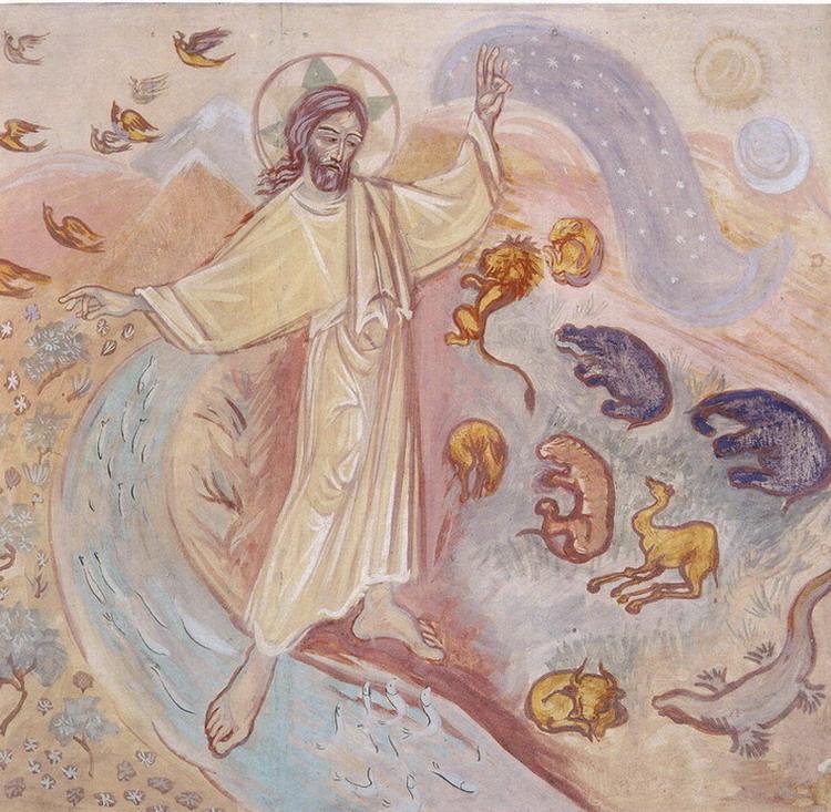 Сотворение мира. Фрагмент. 1945–1947. Часовня св. Василия Великого. Лондон. С. Иоанна (Рейтлингер)