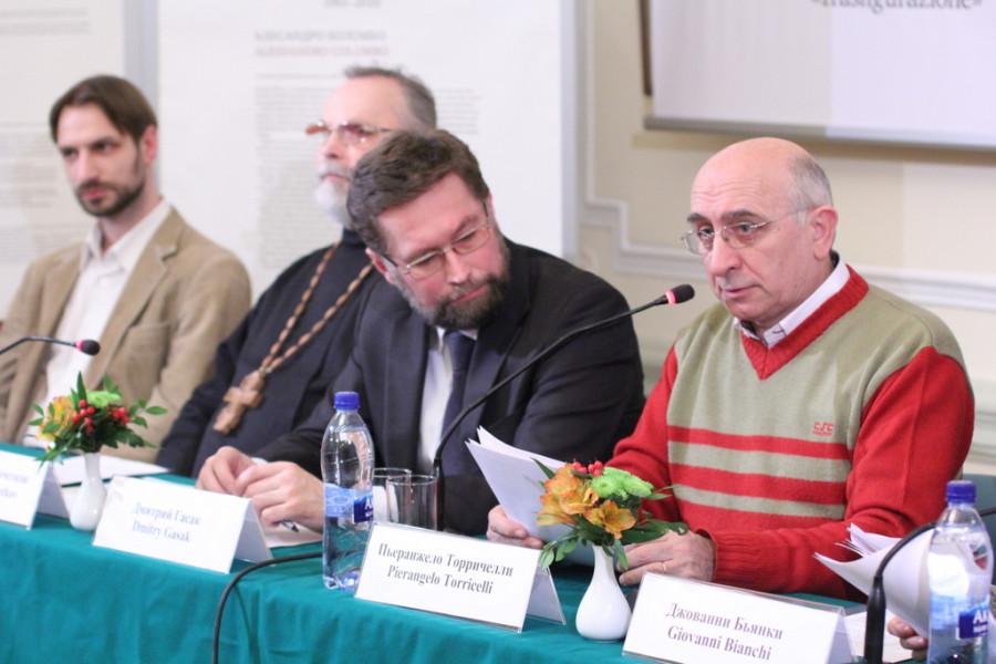 Слева направо: Кирилл Мозгов, свящ. Георгий Кочетков, Дмитрий Гасак, Пьеранжело Торричелли