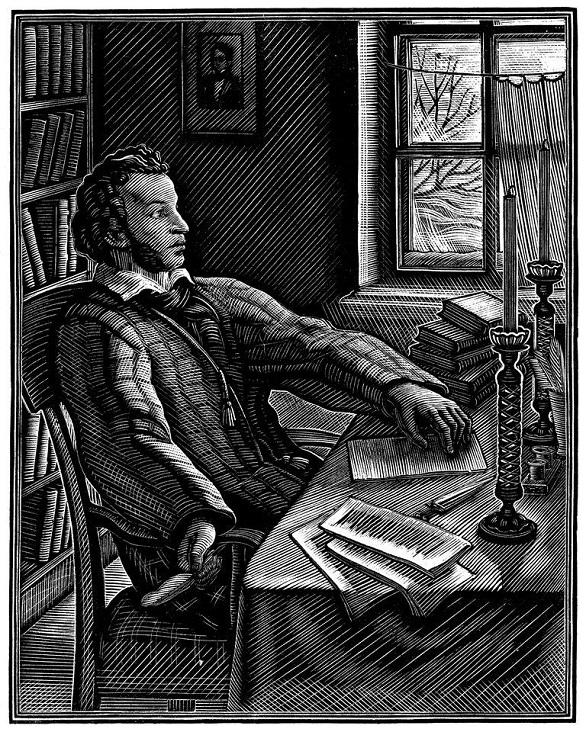 Портрет А. С. Пушкина для издания «Бориса Годунова». 1956. Ксилография