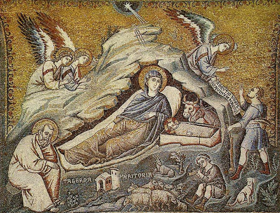 Пьетро Каваллини. Мозаика «Рождество Христово». 1291 г., Рим, церковь Санта Мария ин Трастевере