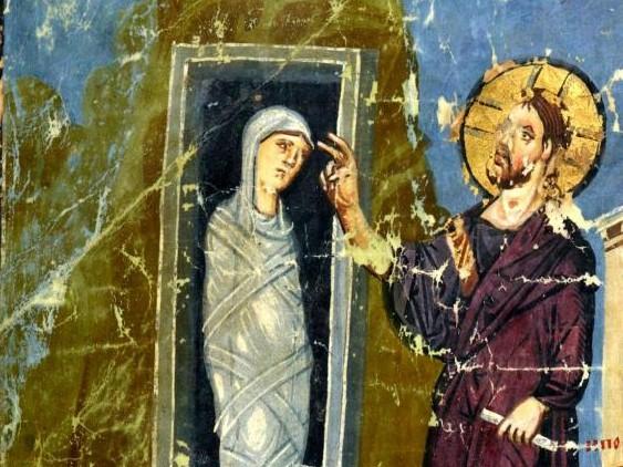 Воскрешение Лазаря. Миниатюра рукописи. Византия. IX век