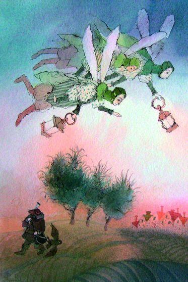 """Иллюстрация из серии """"Светлячки"""". 2008. Акварель."""