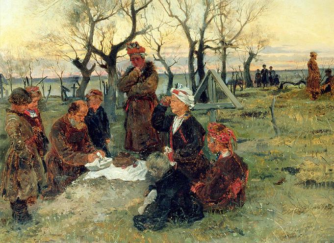 В.Е. Маковский. Поминки (фрагмент). 1884