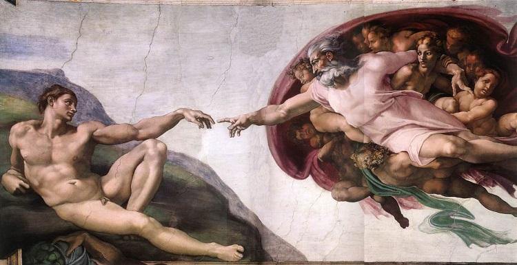 «Сотворение Адама», фреска в Сикстинской капелле работы Микеланджело. Фото: https://ru.wikipedia.org/