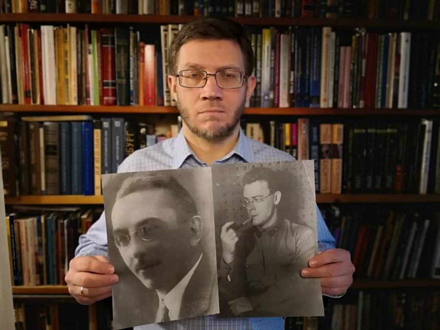 Сергей Чусов с портретами своих деда и прадеда