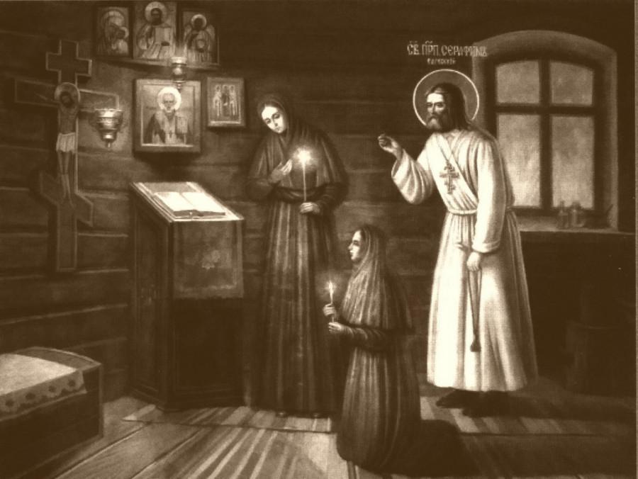 Прп. Серафим молится с сестрами Мельничной общины. Настенная роспись в Казанской церкви Дивеевской обители