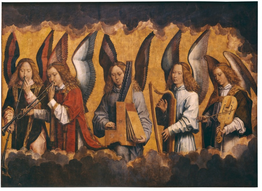 Ганс Мемлинг. Музицирующие ангелы. Фрагмент триптиха
