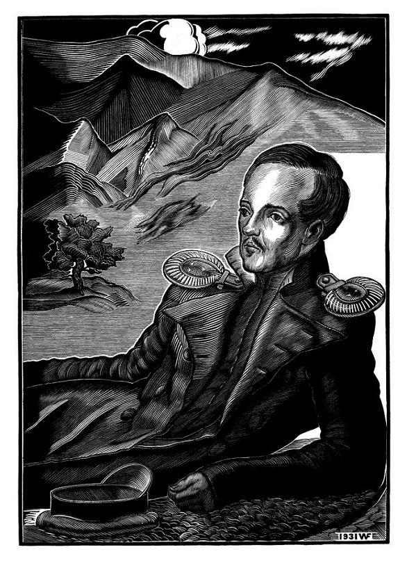 Портрет М. Ю. Лермонтова для Литературной энциклопедии (не использован в издании). 1931. Ксилография